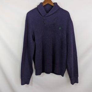 Polo Ralph Lauren Shawl Neck Mens Sweater Purple L